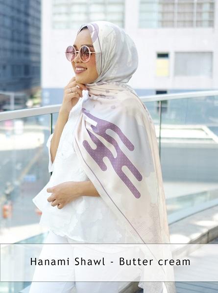 hanami shawl – butter cream2